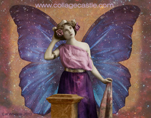 butterfly girl with crown websize 300x235 Digital Collage: Butterfly Woman