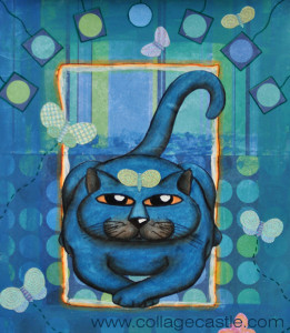 Cat With Butterflies sm 261x300 Collage art Blue Cat