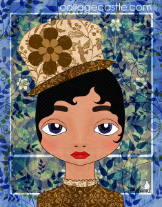 digital collage art cat whipple girl in hat 235x300 Using Other Peoples Patterns In Artwork