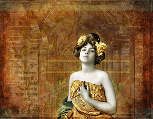 Vintage Woman in Library 300x235 Vintage Woman In Library Digital Collage